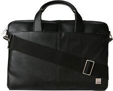 Knomo Brompton Henderson Black Leather 15″ Slim Laptop Briefcase Bag