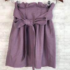 J CREW Womens Sash Skirt size 2 Wool Blend Mauve Pink Tie Waist Ruffle T22