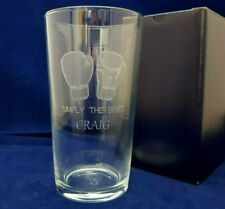 PERSONALISED BOXING PINT GLASS ENGRAVED WITH NAME MESSAGE BOXING GLOVES GLASS