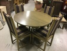 Old Charm Extending Round Table & Four Chairs by Wood Bros