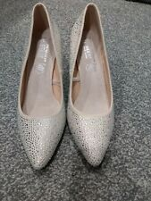 Silver Nude Sparkly Glitzy High Heels Primark Size 6 Wide Fit Brand New