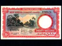 British West Africa:P-10,20 Shillings,1953 * River scene * VF-EF *