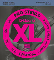 D'ADDARIO EPS170SL PROSTEELS BASS STRINGS, SUPER LONG SCALE, LIGHT 4's  45-100