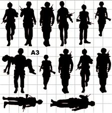 SILHOUETTE ARMY MEN / VEHICLES Wall Vinyl Stickers/ Decals 30 IMAGES to choose