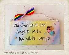 Childminder Gift - Handmade Plaque - Chilminders are Angels with invisible wings