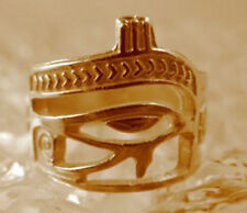 LOOK Gold Plated over real Sterling silver Eye of Horus Ring egypt Scarab beetle