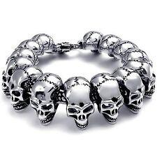 Gothic Men's Jewelry Bracelet Heavy Wide Stainless Steel Skull Head Black Sil DA