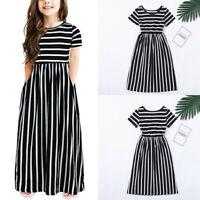 Kids Girls Short Sleeve Striped Print Dress Casual Short Sleeve Long Dresses