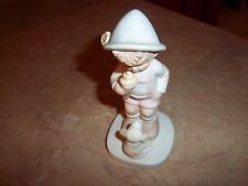 Ceramic Young Boy Eating Ice Cream Cone with his Little Dog - Figurine
