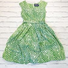 SUMMER LOVING: Samantha Sung £500 Rachel Boat Neck Green Print Dress UK12/US8