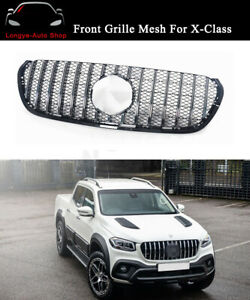 Front Chrome Mesh Grille Grill Fits For Mercedes Benz X-Class 2017-2021