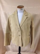 Outer Edge Women's Large Tan Button Leather jacket Tailored L Large Beige
