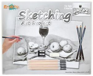 Kreative Sketching Pencil Art Project Drawing Set ~ Red Wine Glass