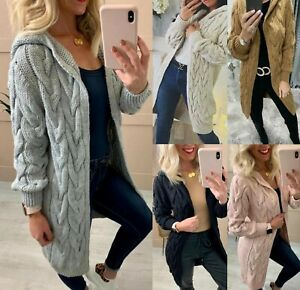 Women Ladies Chunky Cable Knitted Oversized Long Hooded Jumper Cape Cardigan Top