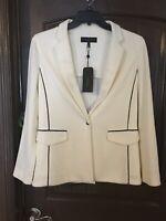 Rag & bone Sandrine Knit Blazer Ivory Off White Black Piping Accent sza 10 new