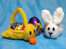 KNITTING PATTERN - Easter Chick and Bunny Basket fits Creme Egg