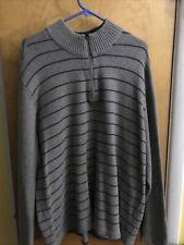 Eddie Bauer Men's 2XL Quarter Zip Wool/nylon Sweater Striped Gray Thick And Warm