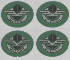 4 Green Mclean Wire Wheel Rim Center Cap Round 250 635mm Sticker Logo