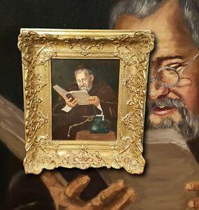 Buch lesender Mönch. Eremit mit Bibel. Ölgemälde R. NEURATH  TOP Rahmen