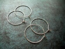 """Two Pairs Hoop Earrings Sterling Silver Over Surgical Steel 22g Thin Wire 1"""""""