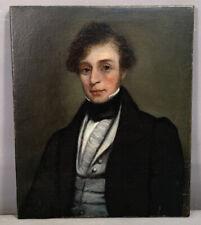 Ca.1840 Antique 19thC Old Antebellum Gentleman Old Md Estate Portrait Painting