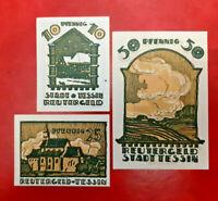 TESSIN REUTERGELD NOTGELD 10, 25, 50 PFENNIG 1922 NOTGELDSCHEINE (13135)