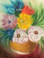 Impressionist floral oil painting still life with flowers