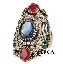 3D Luxury Men's Woman Gold Inlaid multicolor Stone Crystal Female Ring Size 8