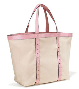 Victoria's Secret Limited Edition Pink and Cream Studded Tote Bag