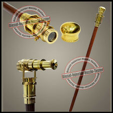 "Nautical Wooden Walking Stick Cane 38"" With Hidden Solid Brass Telescope Stick 1"
