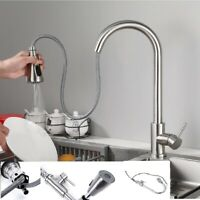 Stainless Steel Easy Install Kitchen Sink Faucet Sprayer Swivel Spout Mixer Tap