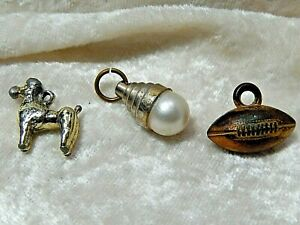 Vintage School Charms Football, Poodle & faux Pearl Lot of three