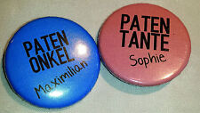 B37 B 38 - Button Buttons Taufe Patentante Patenonkel