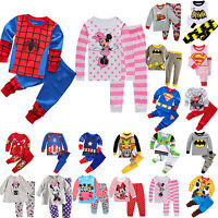1-8T Cartoon Sleepwear Baby Kids Boys Girls Cotton Nightwear Pj's Pyjamas Suits