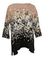Isaac Mizrahi Live! Women's Top Sz L Engineered Floral Print Black A385191