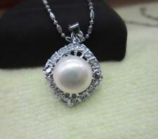 """10-11mm NATURAL SOUTH SEA WHITE PEARL PENDANT NECKLACE 17""""-18 """""""