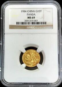 1984 GOLD CHINA 10 YUAN PANDA 1/10 OZ COIN NGC MINT STATE 69