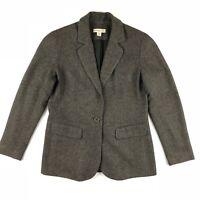 Coldwater Creek Herringbone Blazer Women's Sz 8 1 Button Flap Pockets Wool Blend