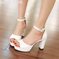 Womens Ankle Strap High Heel Peep Toe Platform Sandals Shoes AU Plus Size 2-9