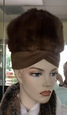 Vintage 60's Mod Mahogany Mink and Suede Turban Style Hat