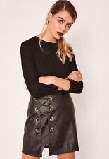 BNWT Missguided Black Leather Skirt Size 8 High Waisted Eyelet Lace Tie Up Party