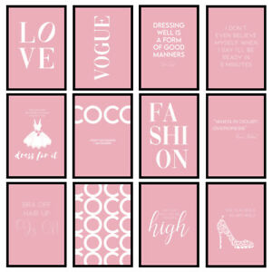 Pink Fashion Prints Designer Bedroom Wall Art Fashion Quotes - Unframed Posters