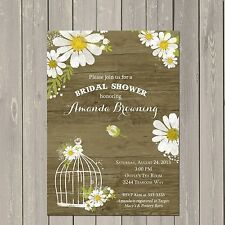 Daisy Bridal Shower Invitation, Rustic Daisies Wedding Shower Invitation, Bird C