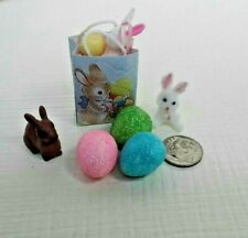 Dollhouse Miniatures Filled Easter Gift Bag with 2 Bunnies & 3 Sparkle Eggs 1:12