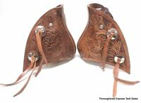 D.A. Brand Natural Leather Floral Hand Tooled Monkey Nose Tapederos Horse Tack