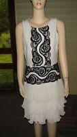 BCBGMAXAZRIA Off-White/Black Nanette Tiered Ruffle Poly. Dress~Sz. 10 (8)~N/W/T