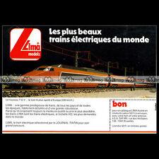 LIMA Train Electrique TGV SNCF HO 1980 : Pub Publicité Original Advert Ad #B565