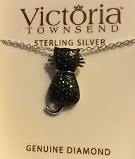Jewelry Victoria Townsend Black Diamond Accent Cat Sterling Silver Necklace!!!
