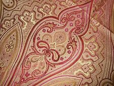 3Y new BEACON HILL silk fabric DE STAIC gold red Magenta large paisley design