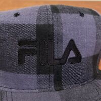 FILA Vintage Hat Snapback Cap Black Gray Plaid Adult Mens 90s USA